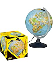 Idena 22059 - Lichtgevende wereldbol met dierenafbeeldingen, met LED-verlichting en aan/uit schakelaar, diameter ca. 30 cm, politieke kaart afbeelding