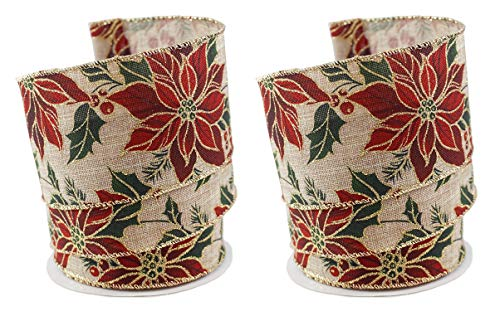 Poinsettia Floral Holiday Fabric Wired Ribbon #40-2.5