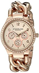 Stuhrling Original Women's 813S.04 Vogue Renoir Day and Date Crystal Accented and 16k Rose Gold-Layered Link Watch  Bracelet