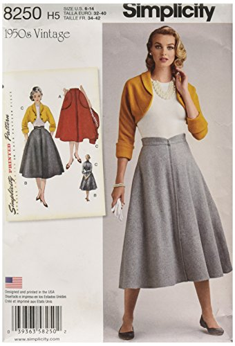 Simplicity Vintage Simplicity Pattern 8250 Misses' Vintage 1950's Skirt and Bolero, Size: H5 (6-8-10-12-14),