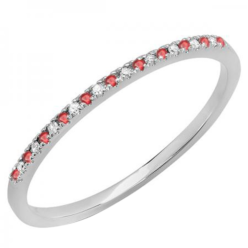 10K White Gold Round Ruby & White Diamond Ladies Dainty Anniversary Stackable Band (Size 5)