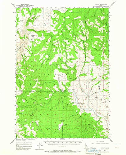 YellowMaps Hornet ID topo map, 1:62500 Scale, 15 X 15 Minute, Historical, 1957, Updated 1965, 20.9 x 17 in - Paper ()