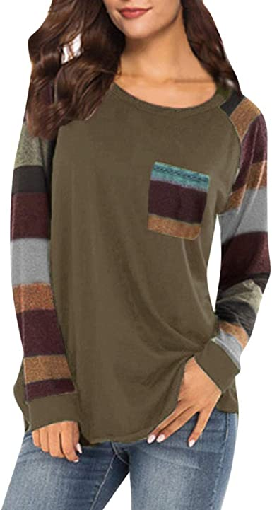 GONKOMA Womens Tops Blouses Casual Long Sleeve Pullover Sweatshirt T-Shirt Solid Loose Tunic