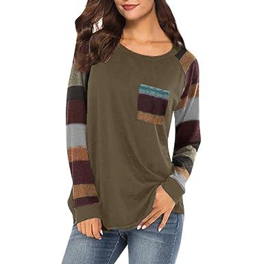 9415baa1bfad92 Frauen Langarmshirts Hemd, Wraluhen Damen Streifen Pullover Kurz Shirt  Bluse Patchwork Dehnbar Lange Ärmel Kapuzenpullover