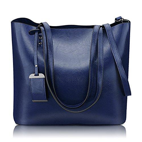 Blue Leather Tote Bag (Women Top Handle Satchel Handbags Shoulder Bag Messenger Tote Bag Purse (Dark Blue))