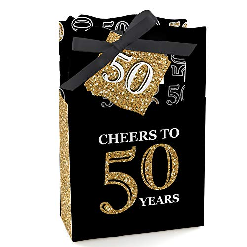 Adult 50th Birthday - Gold - Birthday Party Favor Boxes - Set of 12