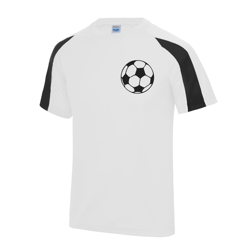 SMS TOGETHER Personalised Football Contrast Shirt Your Name and Number Soccer Ball Front Black