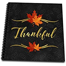 3dRose Doreen Erhardt Autumn Collection - Thankful Typography Faux Gold Leaf and Chalkboard Fall Theme - Memory Book 12 x 12 inch (db_264272_2)