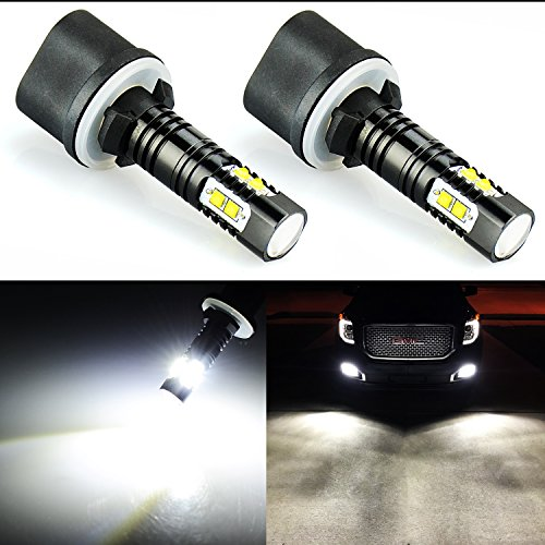 JDM ASTAR Extremely Bright Max 50W High Power 880 LED Fog Light Bulbs for DRL or Fog Lights, Xenon White ()