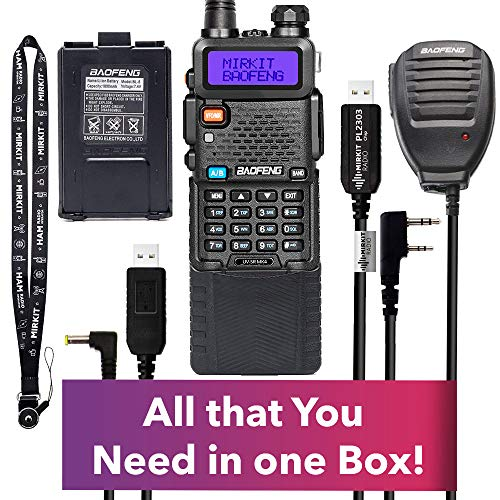 Extended Kit Mirkit BaofengRadio UV-5R MK4 8 Watt MP Max Power with 3800 mAh, Handheld Mic, Baofeng Programming Cable and Software - Extra Pack