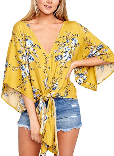 - Women Floral Printed Tie Front V Neck Short Sleeve Tops Summer Blouses Yellow L