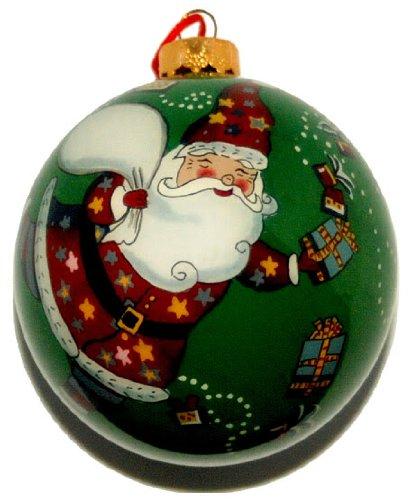World Treasure Hand Painted Glass Ornament, Santa Claus CO-125
