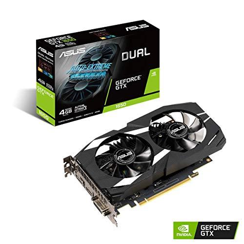 ASUS NVIDIA GeForce GTX 1650 Dual 4G Gaming Grafikkarte (PCIe 3.0, 4GB DDR5 Speicher, HDMI, DVI, Displayport)