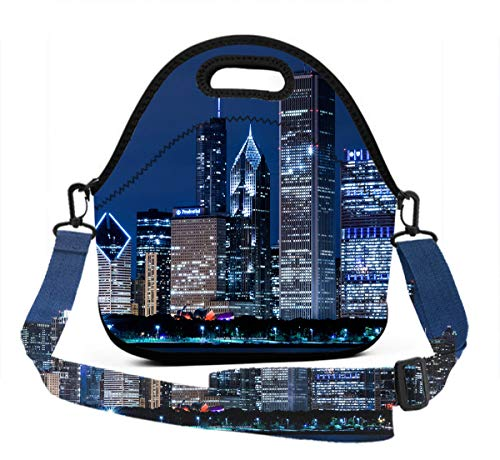 Boys Girls Insulated Neoprene Lunch Bag Tote Handbag Lunchbox With Shoulder Strap, Food Container Gourmet Tote Pouch For School Work Office, USA Chicago Skyline Night View