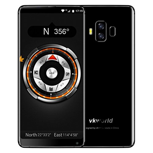 Unpara Vkworld S8 5.99 Inch 4GRAM+64GROM Ultrathin Octa-Core Fingerprint Full Screen Smartphone Android 7.0 Dual SIM 4G/WCDMA/GSM WiFi Bluetooth 16MP Dual-Rear Camera Smart Cellphone By (Black)
