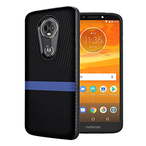 (Moriko Case Compatible with Moto G7 Power, Moto G7 Supra [Embossed Diagonal Lines Hybrid Slim Armor Black Case] for Motorola Moto G7 Power - (Blue Line))