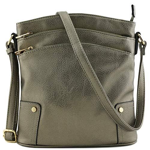 Triple Zip Pocket Large Crossbody Bag (Pewter) (Purse Crossbody Wide)