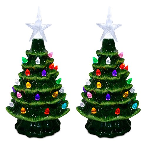 Christmas Tree Decor (ReLIVE Christmas Is Forever Lighted Tabletop Ceramic Tree with Timer Switch (7