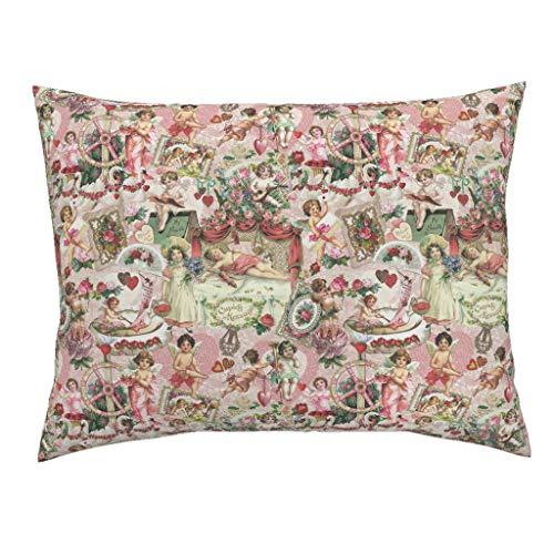 Victorian Cherubs Standard Knife Edge Pillow Sham Vintage Valentine Cherubs Roses Cherubim Hearts Swans Lace Hearts Valentines Victorian by Carolyn Grossman 100% Cotton -