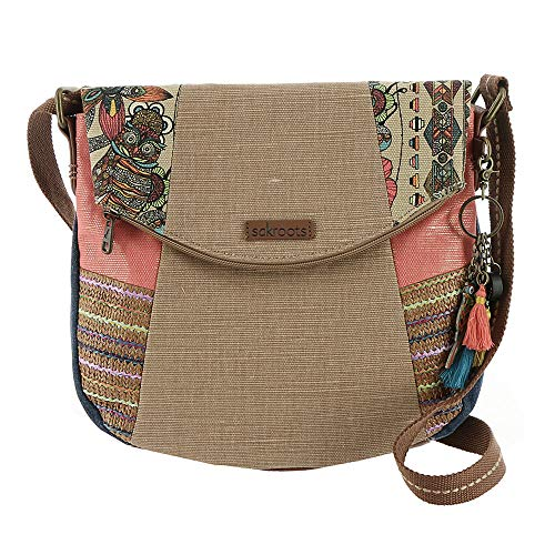 Sakroots Women's Artist Circle Foldover Crossbody Camel Spirit Desert Patched Crossbody Bag