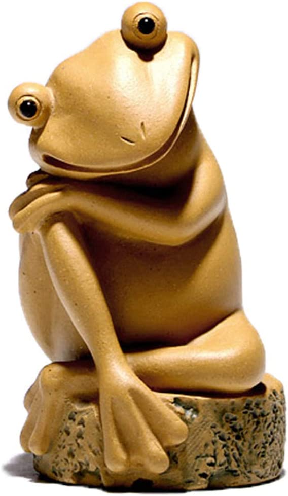 PHH Rana Adornos de Animales para decoración de té Crudo Mineral Morado Ceremonia Accesorios Gratis Rana pequeña decoración para Mascotas, Arena Morada, marrón, 4.5 * 8.9CM