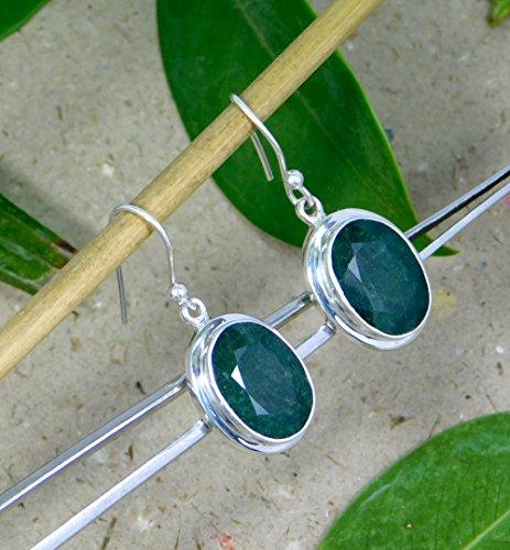 Elegant emerald Earring, green amethyst 925 Sterling Silver Earring,Gift for her, rose gold finish,women jewelry ()