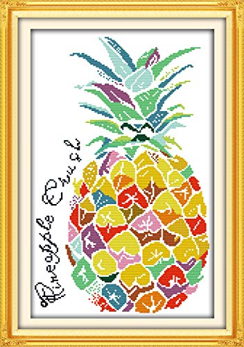 Cross Stitch Kits Pre-Printed Pattern Kit Stamped Cross-Stitch Kits for Beginners Adults, Embroidery Needlepoint Kit Color Pineapple Kits for Office Home Wall ()