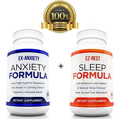 Pilules d'anxiété naturelles + sommeil comprimés paquet Duel Pack Around the Clock anxiété soulagement humeur Enhancer dépression réducteur réduire l'insomnie Made in USA - réduire Stress dormir mieux hommes femmes enfants