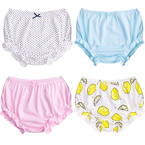 Soft Baby Underwear for Toddler Girls Cotton Training Pants Pack of 4 (90cm (0-1Y), Color C)
