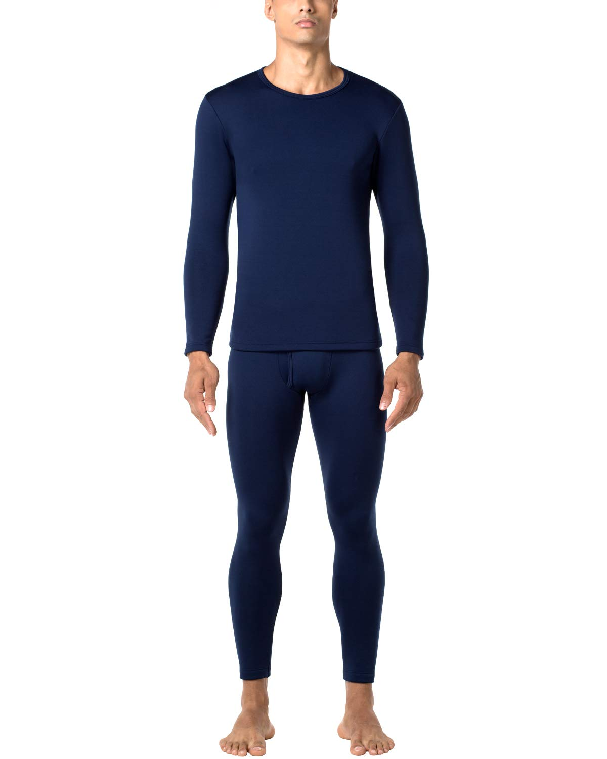 LAPASA Men's Heavyweight Thermal Underwear Long John Set Fleece Lined Base Layer Top and Bottom M24 Navy by LAPASA