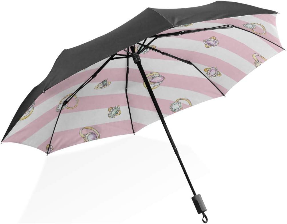 Paraguas de Lluvia Grandes Anillos de Compromiso de Diamantes Dorados Paraguas Plegable Compacto portátil Protección contra Rayos UV A Prueba de Viento Viajes al Aire Libre Mujeres Paraguas de Viaje