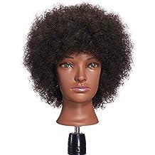 Hairginkgo Afro Mannequin Head 100% Human Hair Hairdresser Training Head Manikin Cosmetology Doll Head(92092B0210)