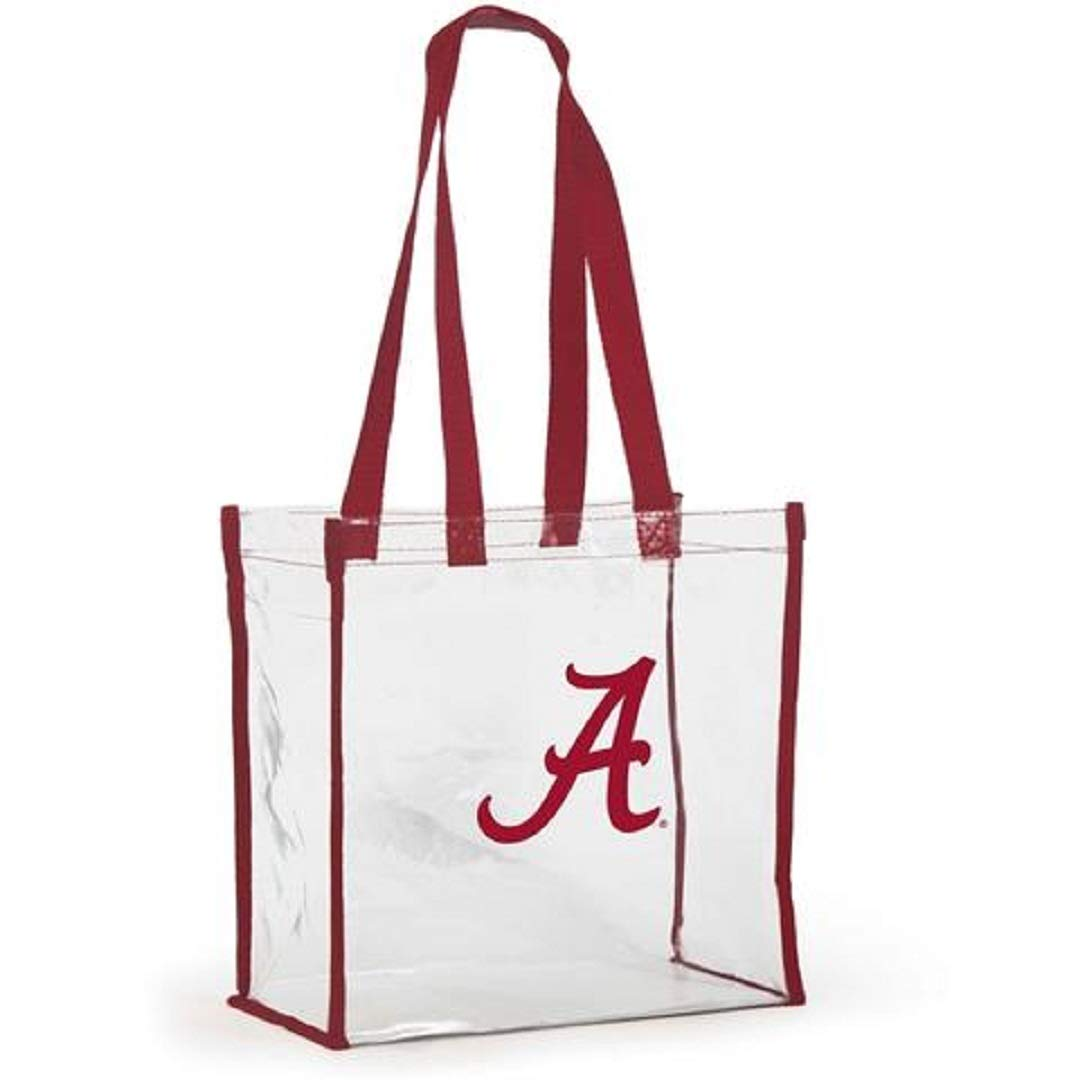 Desden Style 214 Open Top Stadium Tote Clear with Long Handles for University of Alabama Crimson Tide Fans.