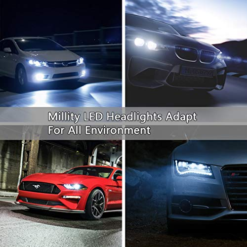 Ultra Bright LED Headlight Bulbs CSP Chips 100W 12000LM Headlight Conversion Kit- 6000K Cool White H7 Fog Lights Bulbs- 4 Side LED High Low Dual Beam Light All-in-One for Car Driving Lamps Replacement
