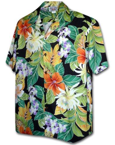 Pacific Legend Tropical Floral Cereus Plumeria Hibiscus Hawaiian Shirt