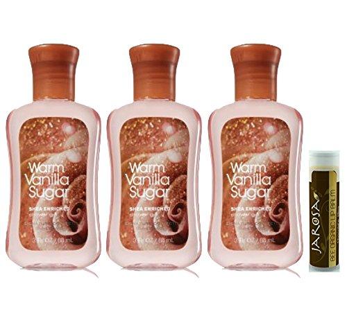 Bath & Body Works Signature Collection Warm Vanilla Sugar Shower Gel 3 fl.oz/88 mL Mini Travel - 3 Pack with a Jarosa Bee Organic Peppermint Lip - Gel Shower Korres Scented