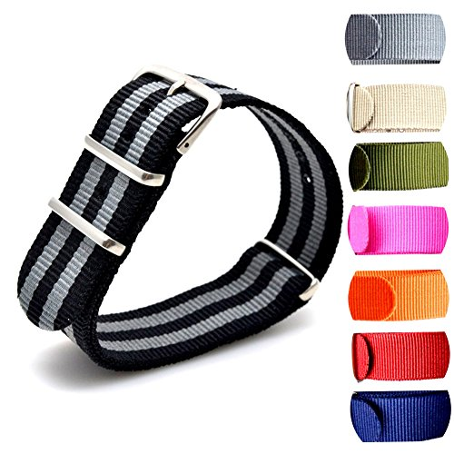 BUMVOR Watch Band, Nylon NATO strap - For All Watch Faces, Fitness Devices, Bezels 007 James Bond Watch