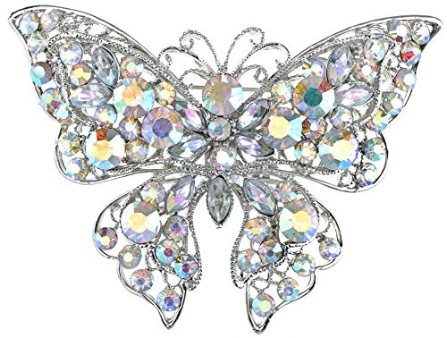 Large Silver White Filigree Butterfly Crystal Rhinestone Brooch Pin Jewelry Pin (Amount - B1017)