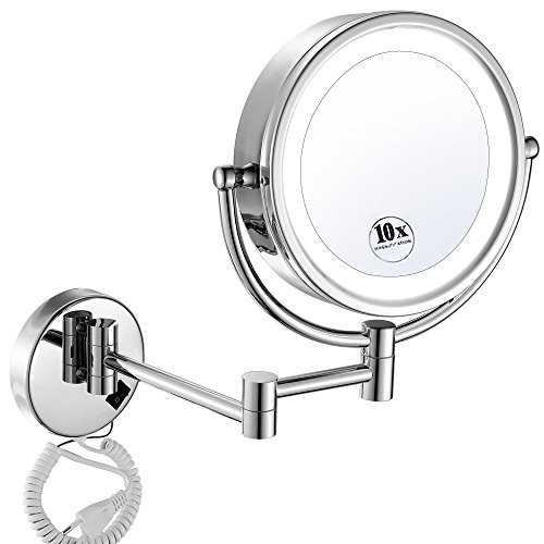 GURUN 8.5 Inch LED Lighted Wall Mount Makeup Mirrors with 10x Magnification,Chrome M1809D(8.5in,10x) For Sale