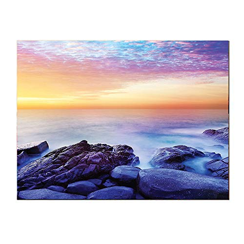 SATVSHOP Canvas Art posters-24Lx20W-Seaside Dream Sky with ainbow Colors in The Morning Seascape Fantasy Imaginary Planet Photo Blue Purple.Self-Adhesive backplane/Detachable Modern Decorative.