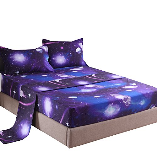 Cozzy Galaxy Night 3D Printed Bed Sheets Set 4pcs Flat & Fitted Sheets with 2 Pillowcases Full Size Deep Blue