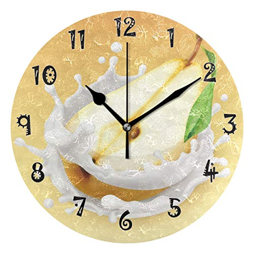 - CHAYUN Round Wall Clock Non Ticking Cute Arabic Numeral Design Milk Pear Battery Operated Acrylic Oil Painting Home Office School Decor Dual Use Art Clock 9.45 Inch