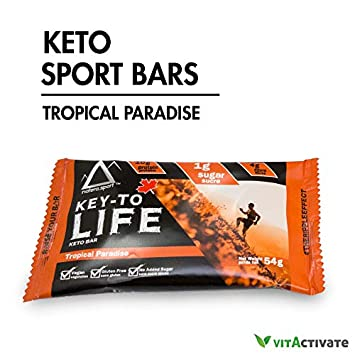 Keto Snacks, Hemp Protein Bar 12-Pack NATERA Tropical Paradise Flavor by VITA Activate, Low Carbs Food Supplement for Ketogenic