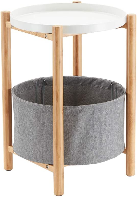 Bamboo Round End Table with Gray Storage Basket White Side Table for Living Room
