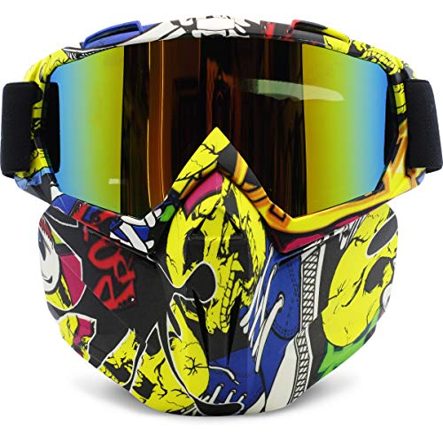 Motorcycle Goggles Removable Face Mask, PP PICADOR Detachable Motocross Windproof Waterproof Dustproof UV Protective Sports Goggles for Dirt Bike Wrap, Road Racing, ATV Helmet,Adult,Youth(Multicolor)]()