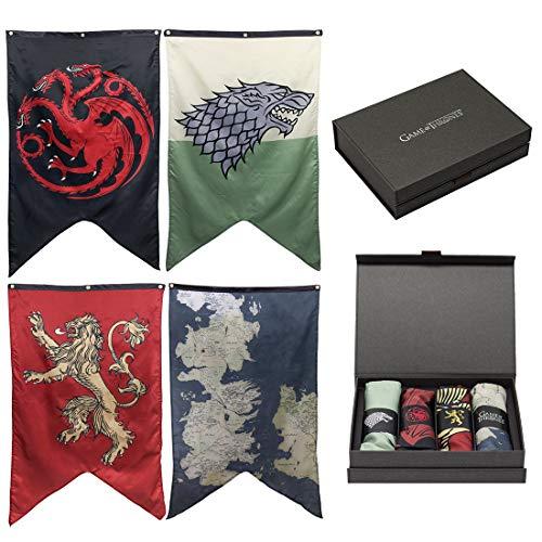 Game of Thrones House Sigils & Westeros Map Wall Banner Gift Set - Set of 4 -