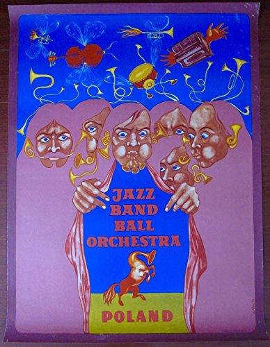JAZZ BAND BALL ORCHESTRA - ORIGINAL 1973 POLISH MUSIC POSTER - TRUMPET HORSE ART