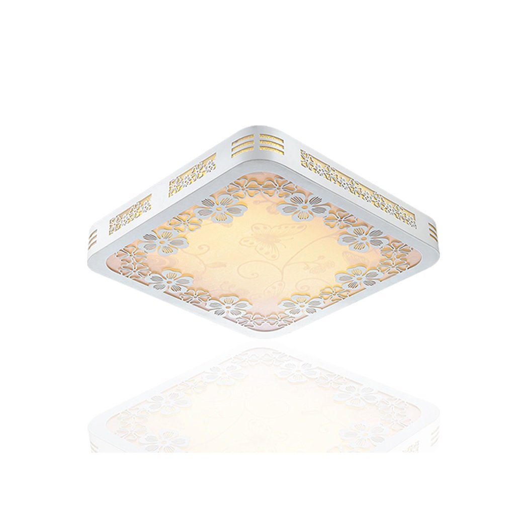 WAN SAN QIAN- LED Round Warm Light Led Chip Light Source Ceiling Light Simple Square Wooden Carved Borders Ceiling Light Ceiling Light ( Size : Square 45459cm )
