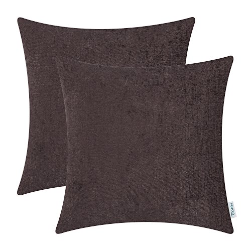 CaliTime Pack of 2 Cozy Throw Pillow Covers Cases for Couch Sofa Home Decoration Solid Dyed Soft Chenille 20 X 20 Inches Coffee