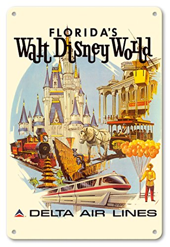 (Pacifica Island Art 8in x 12in Vintage Tin Sign - Florida's Walt Disney World - First Year of Operation - Delta Air Lines by Daniel C. Sweeney)